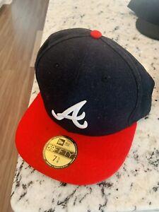 Dark Navy MLB Cap New Era Atlanta Braves ROAD 59Fifty Fitted Hat