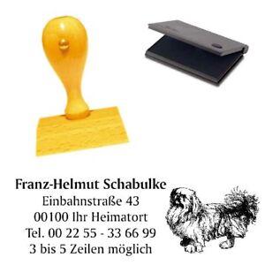 Adressenstempe<wbr/>l « PEKINGESE » mit Kissen - Hundeschule Tierheim Pekinese