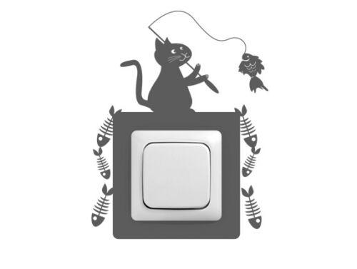 Steckdosentattoo KatzeKinderzimmerKücheFlur Wandtattoo Schalter
