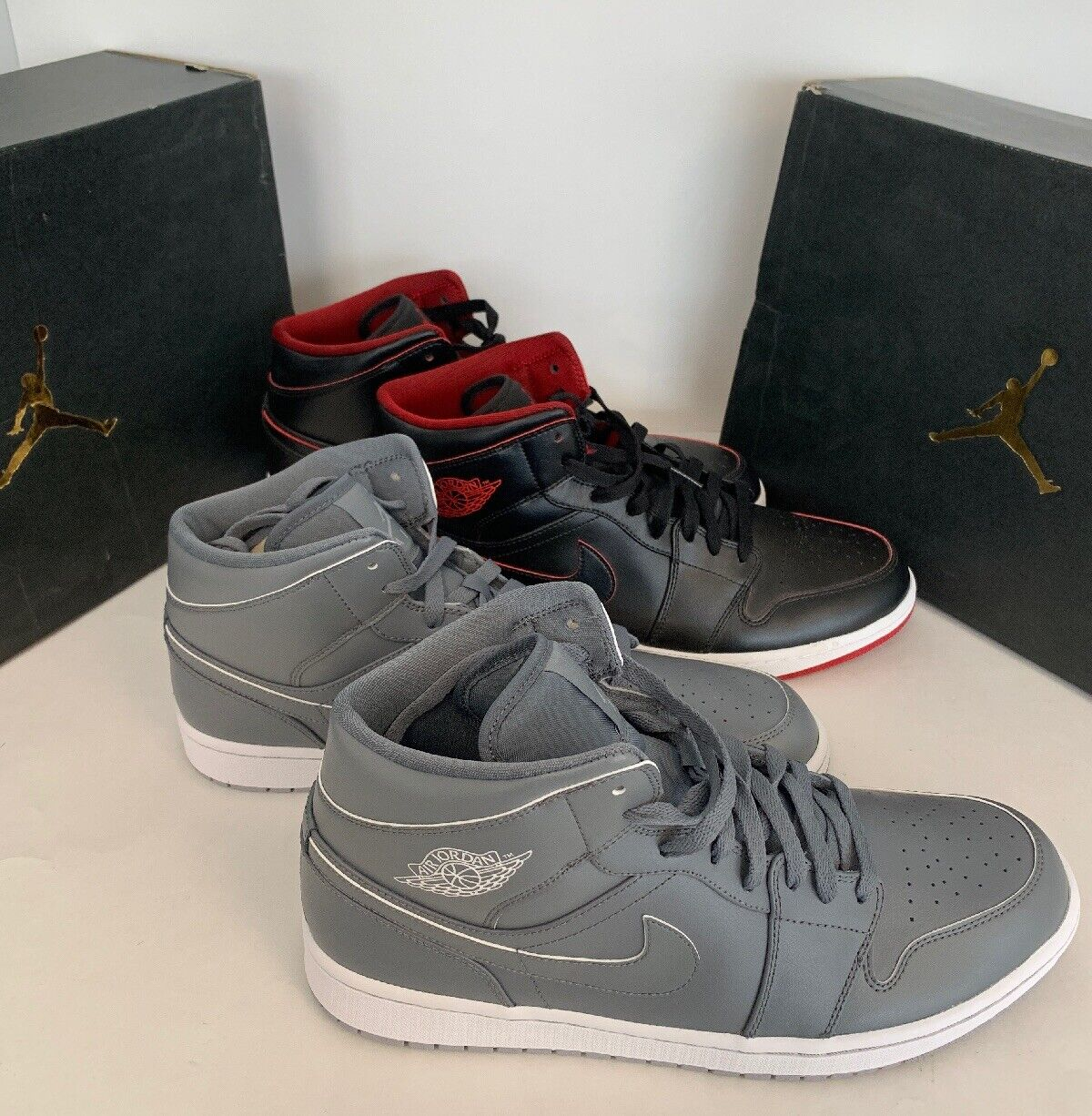 2 pairs Nike Jordan 1 Mid  Wolf Grey & Black Red Size-13 1 New, 1 Used