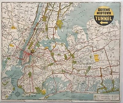 Map Of New York Showing Queens.Queens Midtown Tunnel Map New York City Circa 1940 Ebay
