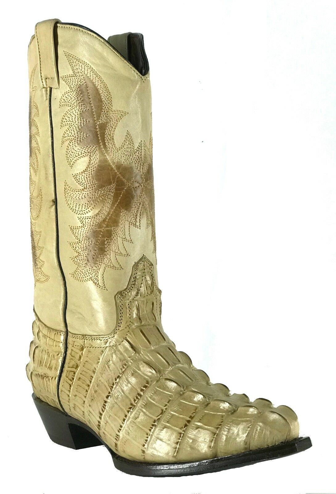 Women's New Leather Crocodile Design Western Cowgirl Biker Boots Snip Sand