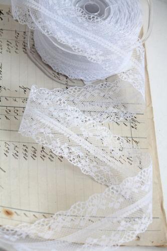 1,50 €//m 1m punta ♔ 40mm Bianco Lace punte bordato dekoband Shabby Vintage Matrimonio