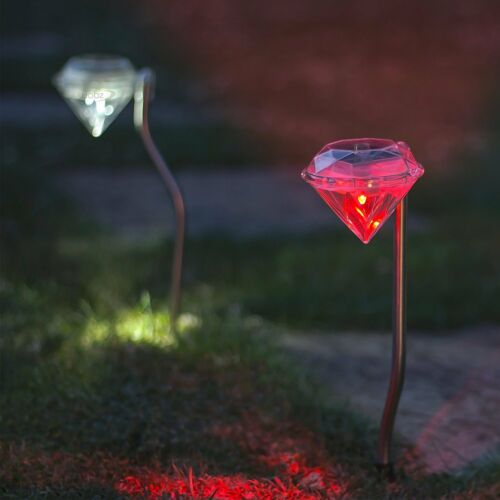 Diamond LED Solar Powered Stainless Steel Stake Lights Lawn Pathway Garden Lamp