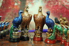 Birds Chess Set Full Colour (Pieces Only) Eagle.Peacock,Falcom,Owl,Raven