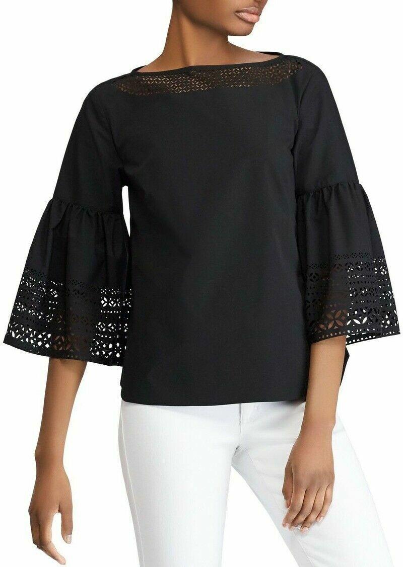 Nuevo  125  Lauren Ralph Lauren Popelín Bell-Sleeve Top azulsa Petite XS Negro  echa un vistazo a los más baratos
