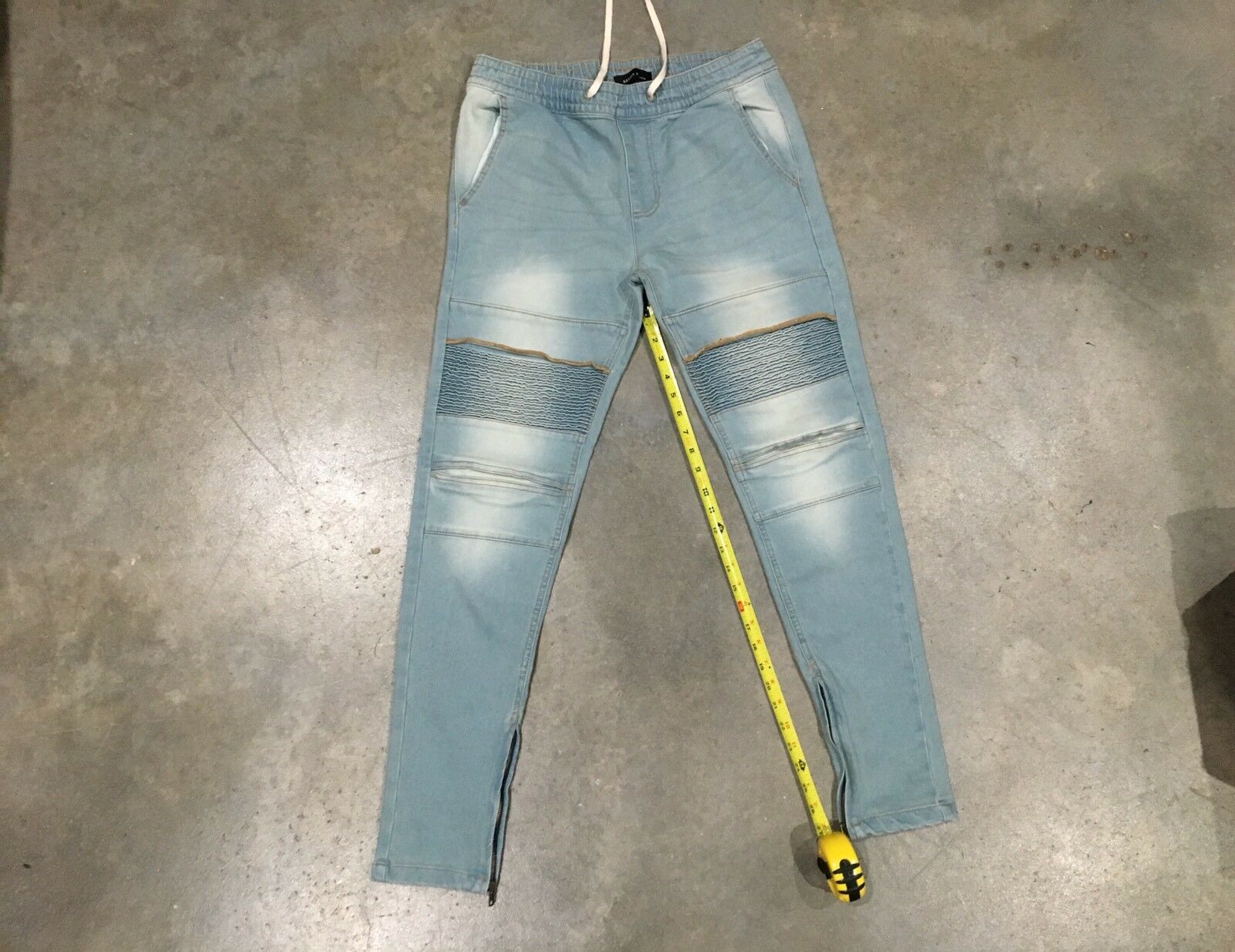 New Kayden K 'Ankle Zip' Jeans In Pale bluee - Sz. Large 100% Authentic
