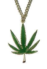 Marijuana Pot Leaf Green Enamel on Pewter Pendant NecklaceNK-49