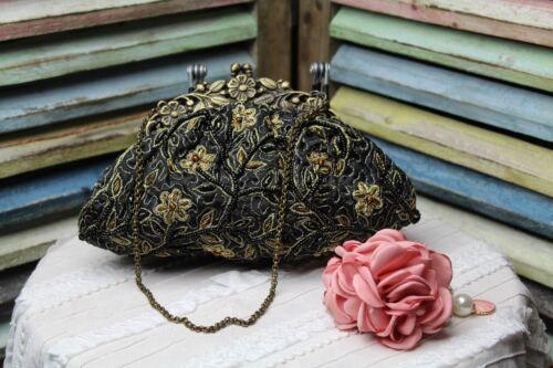 Designer Noly stoffen zwarte Glam Bag gouden borduurwerk Fuentes avond met DIH29E