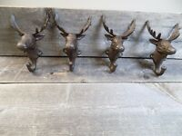 4 Rustic Elk Deer Moose Head Hooks Cast Iron Coat Hook Rack Restoration Hat