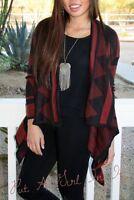 Black Burgundy Aztec Tribal Boho Southwest Knit Cardigan Sweater Jacket S M L