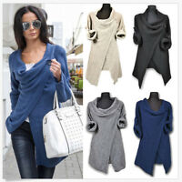 Womens Ladies Casual Pleated Long Sleeve Collared Coat Blazer Jackets Knitwear