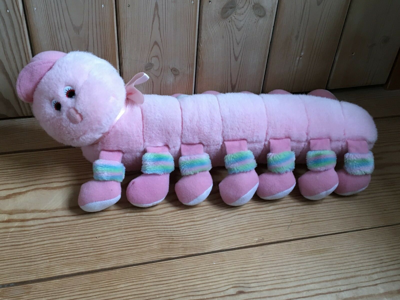 Vintage soft toy caterpillar with lullaby about 46cm long x 25cm wide