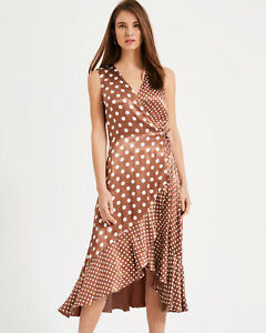 Phase-Eight-NEW-Bea-Spot-Occasion-Midi-Wrap-Dress-in-Camel-Sizes-8-to-16