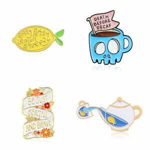 Details about Lemon/Kettle/Flower/Skull Brooch Cute Pins Badge Bag Enamel  Corsage Jewelry Gift