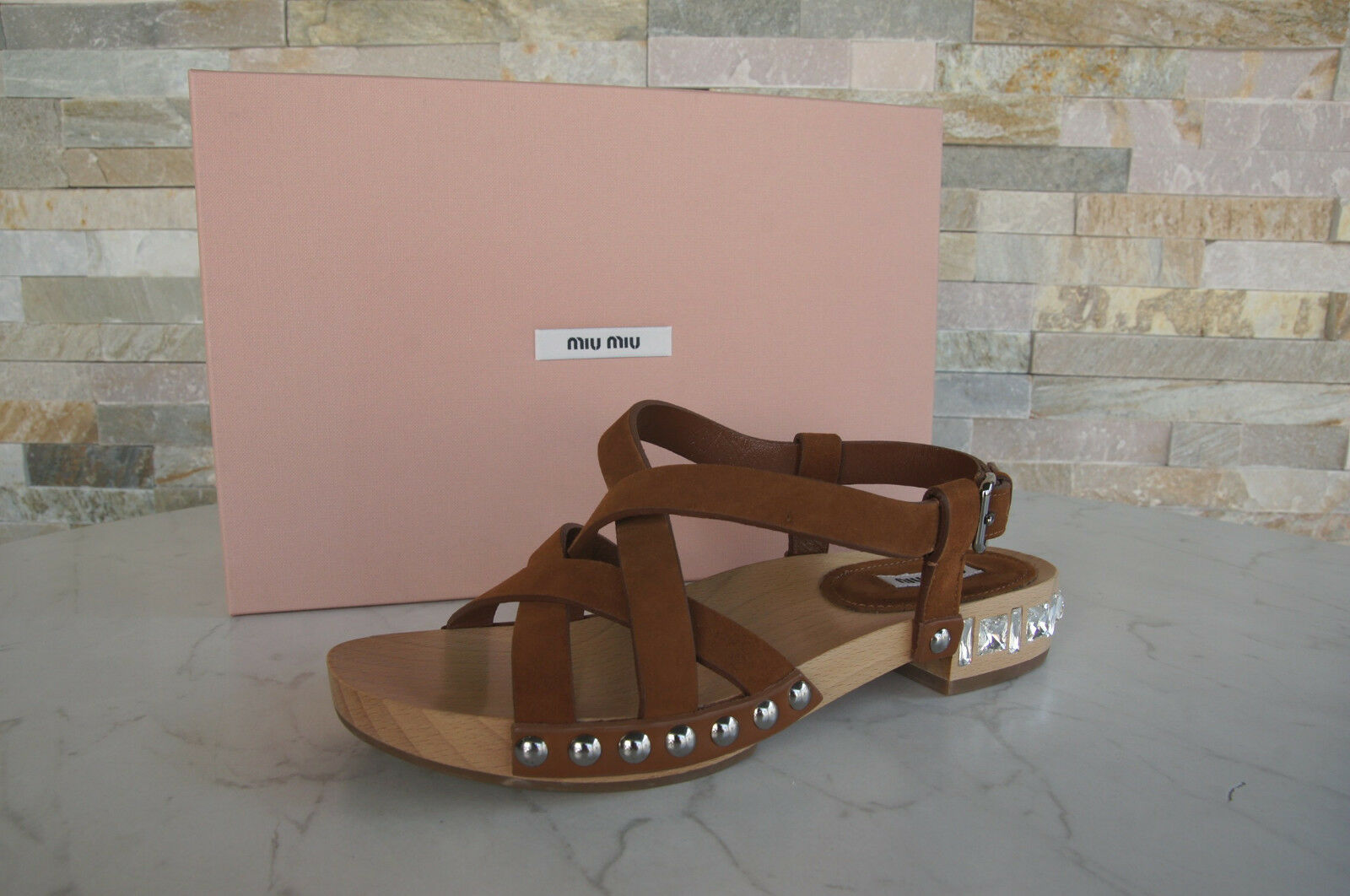 Miu Miu by Prada Size 38 Sandals Sneakers Wood shoes Brown New Previously