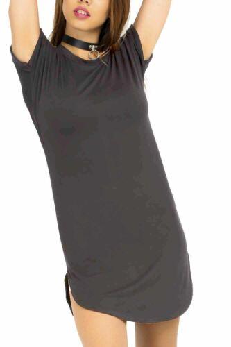 Ladies Womens Oversized Baggy Turn Up Sleeve Curved Hem T-Shirt Tunic Mini Dress