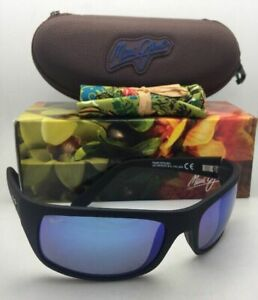 Polarized-MAUI-JIM-Sunglasses-PEAHI-MJ-202-2M-SGH-Black-Rubberized-w-Blue-Hawaii