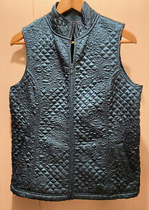 Susan-Graver-Quilted-Satin-Vest-Women-s-Size-Small-Emerald-Green-Zip-Front