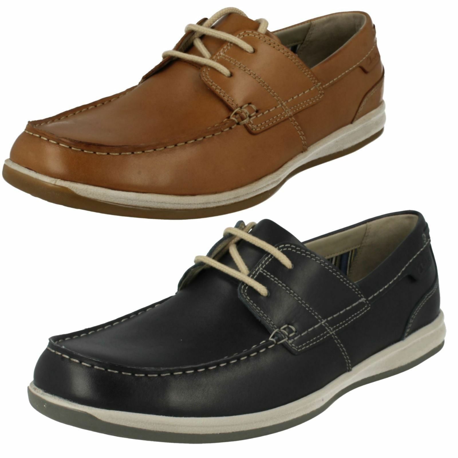 Mens Navy / Tan Leather Clarks Lace Up Boat Shoes Fallston Style