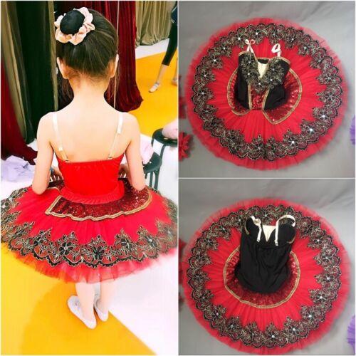 Girls Kids Ballet Pancake Platter Tutu Skirt Dance Dress Red Black Lace Costume