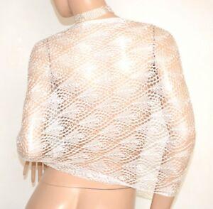 c7ff02aa2aa Étole châle blanc femme écharpe marièe foulard fil brodée élégant ...