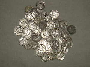 1-oz-12-MERCURY-Winged-Liberty-Head-90-Pure-Silver-DIMES-Mostly-40-039-s-Dates