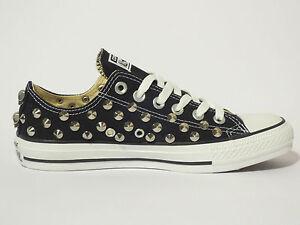 Converse all star OX borchie teschi scarpe donna uomo nero black artigianali