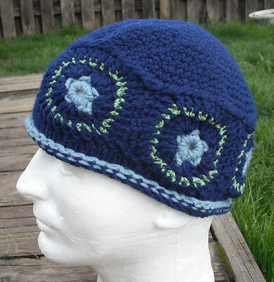 Great Dark Blue with Square Ornaments Crocheted Scull Cap - Handmade by Michaela