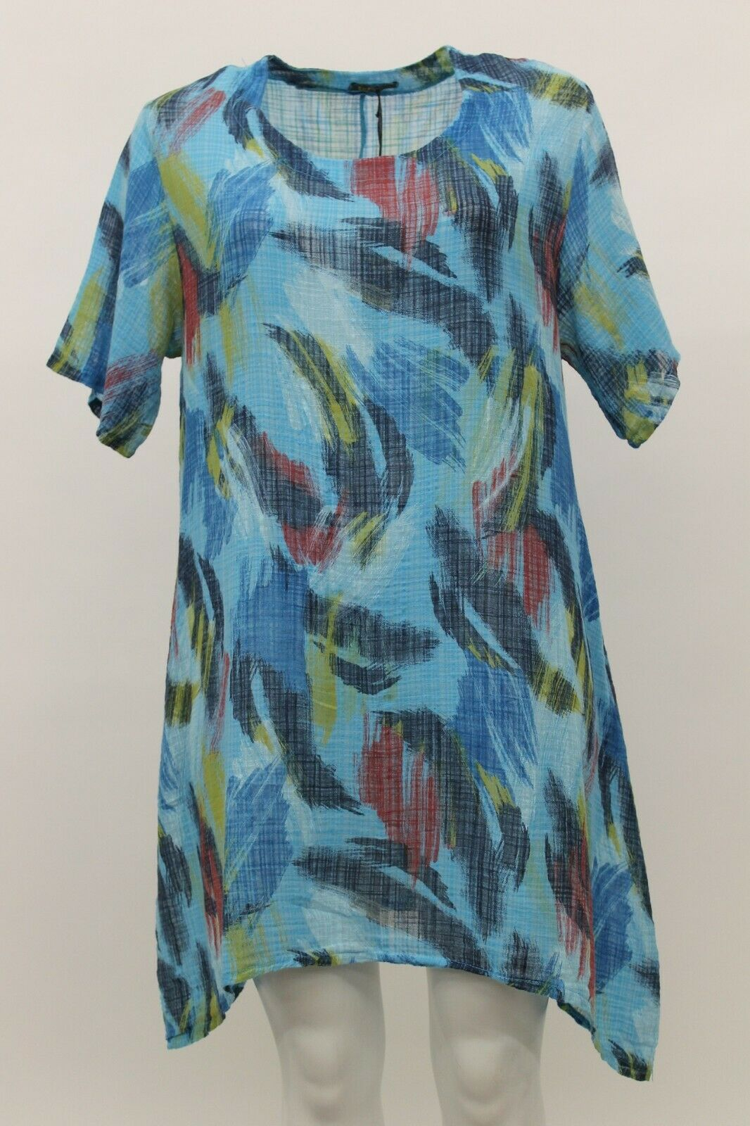 MADE IN ITALY WOMEN'S SPRING SUMMER COTTON LINEN GAUZE TUNIC TOP blueE ABSTRACT