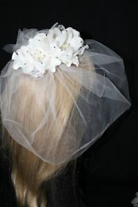 NEW ivory organza & Lace fascinator with tulle veil, rhinestone/pearls $129.