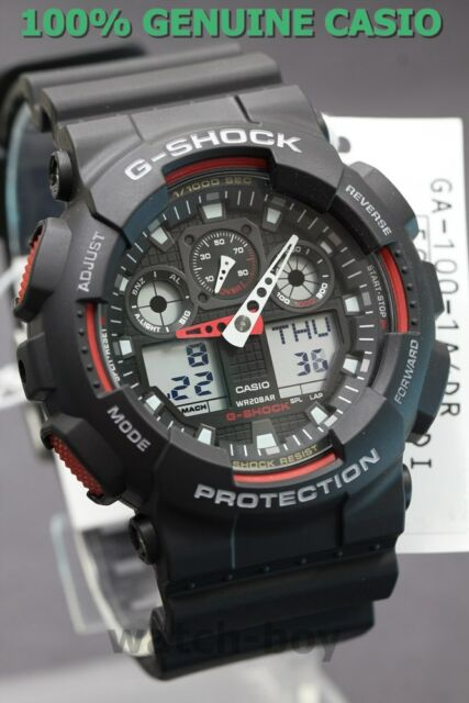cbdab3ea79b0 GA-100-1A4 Black Red G-shock Casio Watches 200m Resin Band Analog ...