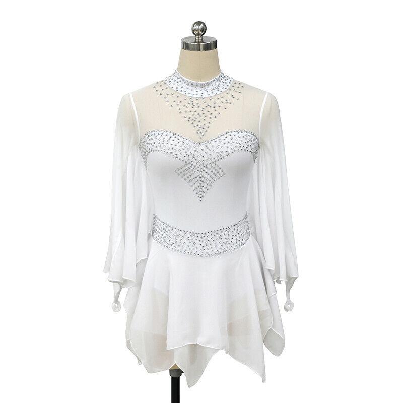 Figure Skating Dress Women's Girls' Skating Dress  White Long sleeve  preferential