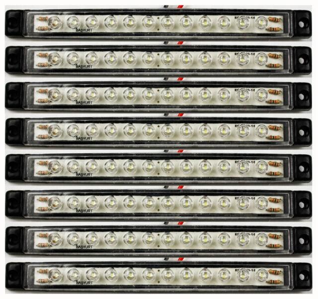 8 x 24Volt 12 LED FEUX DE GABARIT 167mm CAMION REMORQUES ARRIERE COTE AVANT