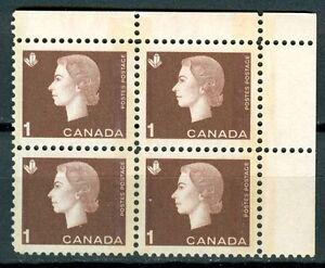 Canada #401p Corner Block 4 UR Cameo Tagged MNH