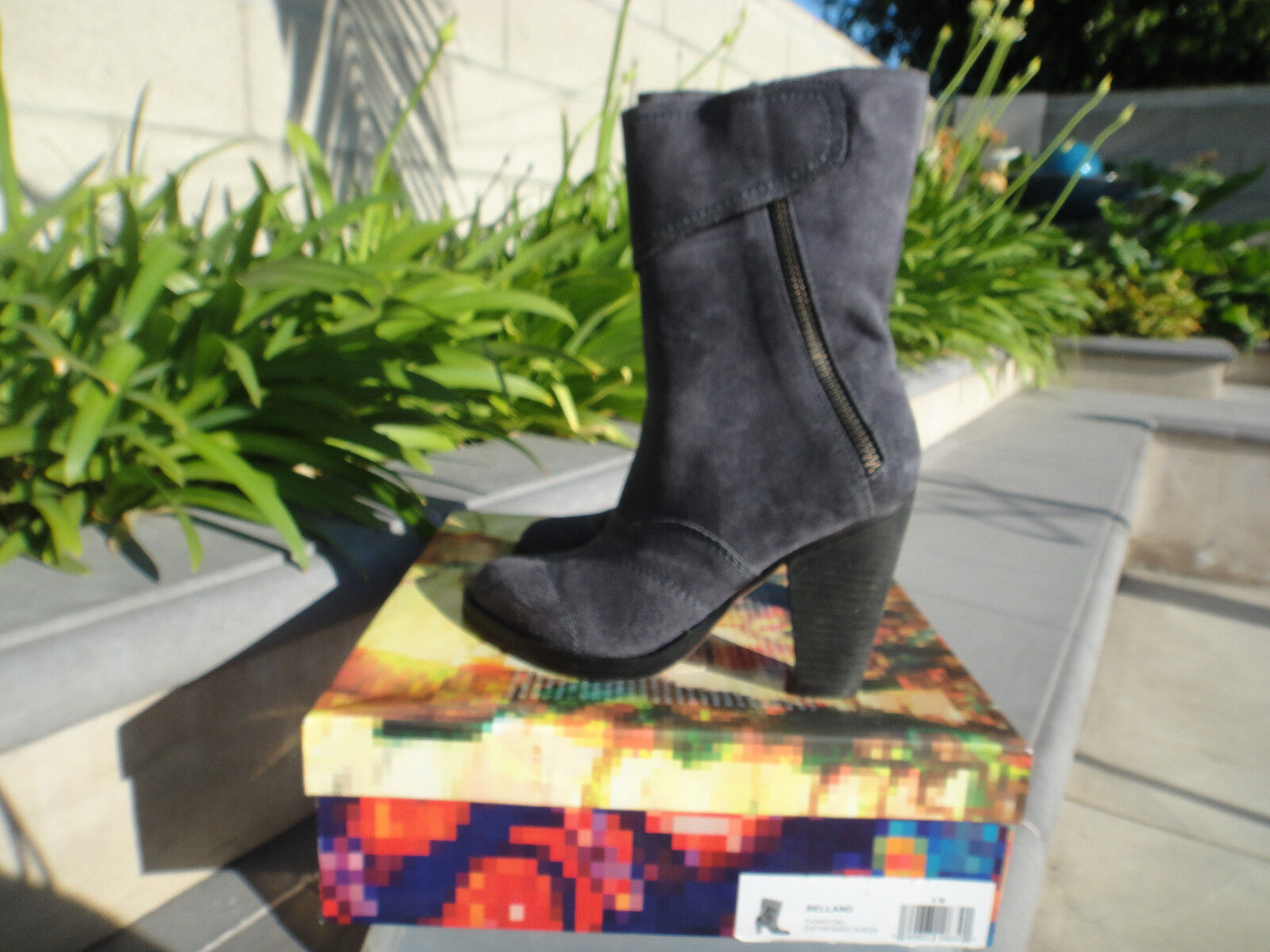 Jeffrey Campbell BELLAND Charcoal Distressed Suede Boot w Zip Wmns US Sz 6M  145