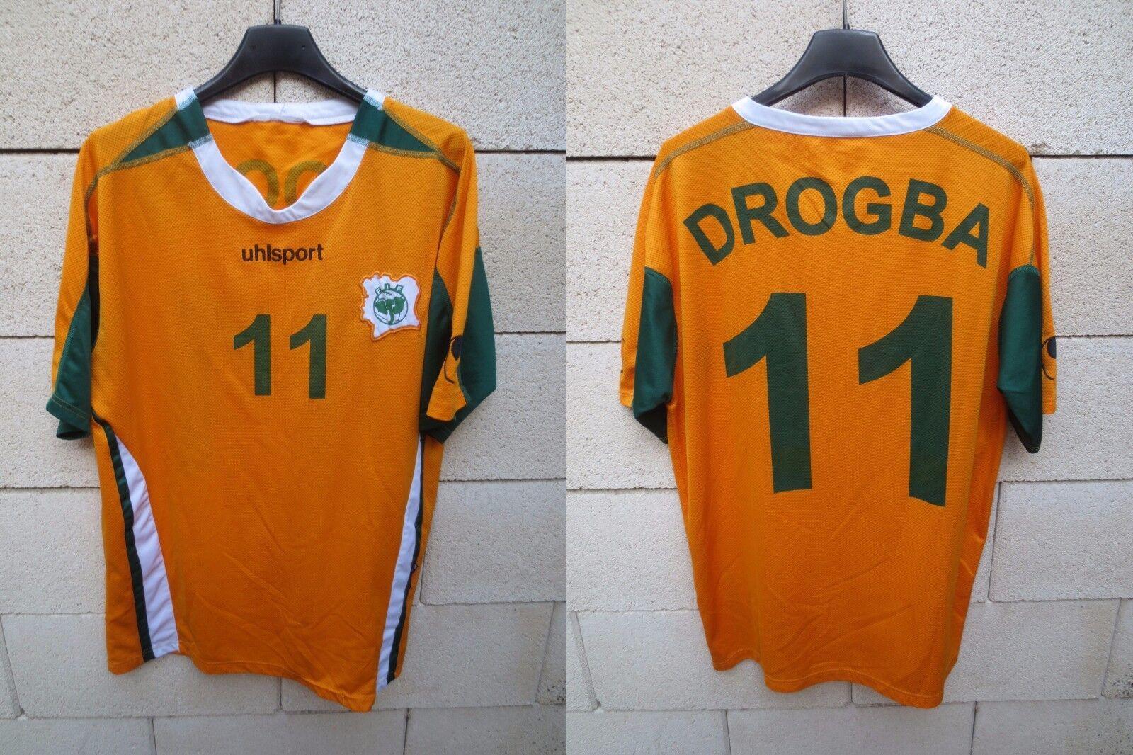 Maillot COTE D'IVOIRE vintage Didier DROGBA n°11 UHLSPORT shirt trikot M