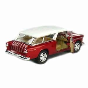 Kinsmart-5-034-1955-Chevy-Nomad-1-40-Diecast-Model-Toy-Car-Chevrolet-Metallic-Red