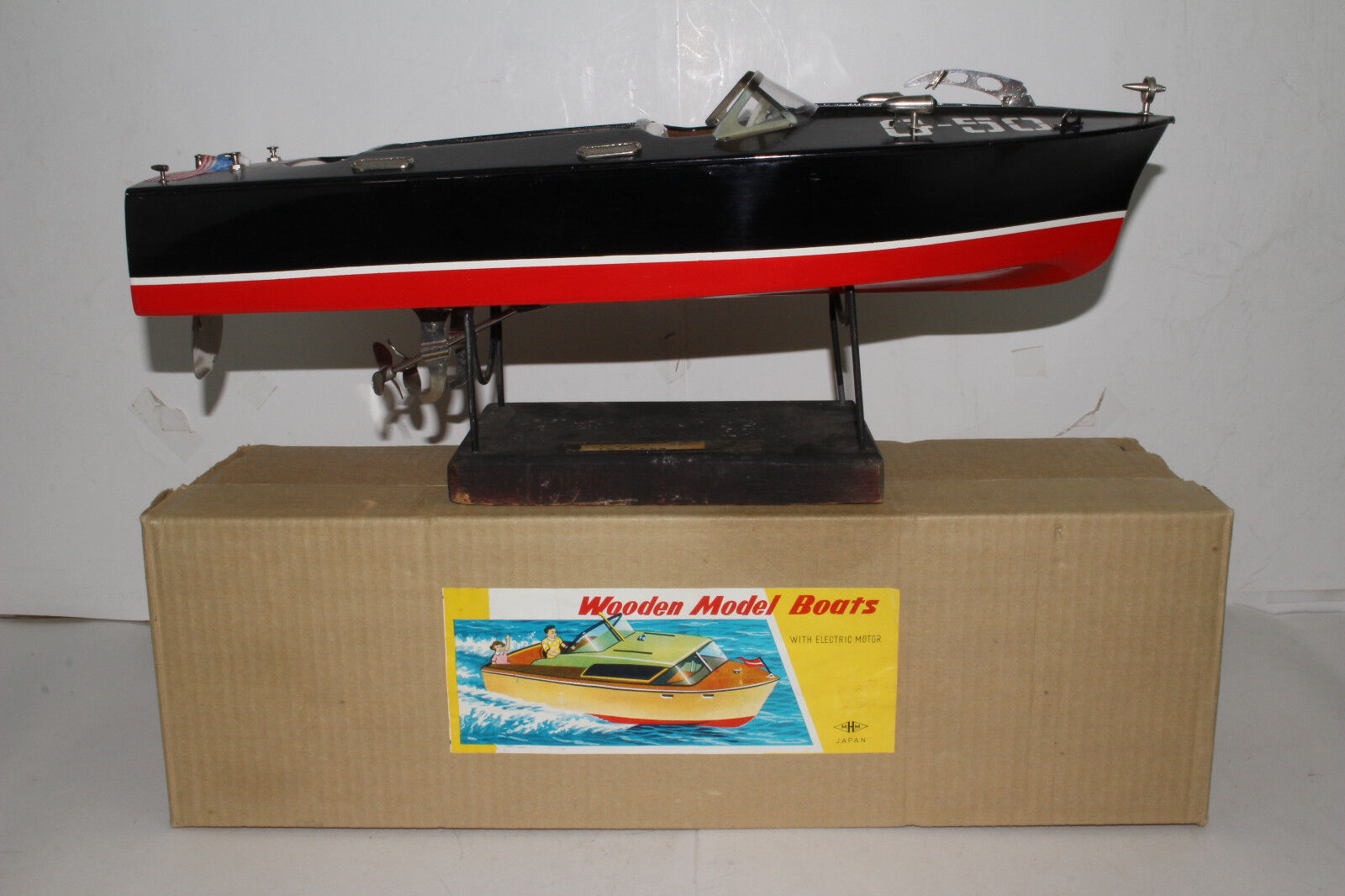 594ms Toy Boat, Japanese MHM G-50 Speed Boat Wood Nice with Original