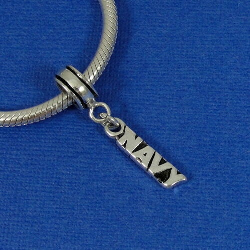 925 Sterling Silver Navy Dangle Charm US Military Bead fits European Bracelets