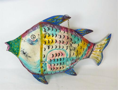 Fisch Windlicht Laterne Gartendeko Figur Dekofigur Metall 78 cm bunt 204817