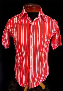 RARE-COLLECTABLE-VINTAGE-1950-039-S-RED-amp-WHITE-STRIPED-THICK-COTTON-SHIRT-SZ-SMALL