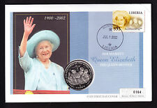 Liberia Stamp & IOM Isle of Man Coin Cover Queen Mother Memorial 2002 Royalty
