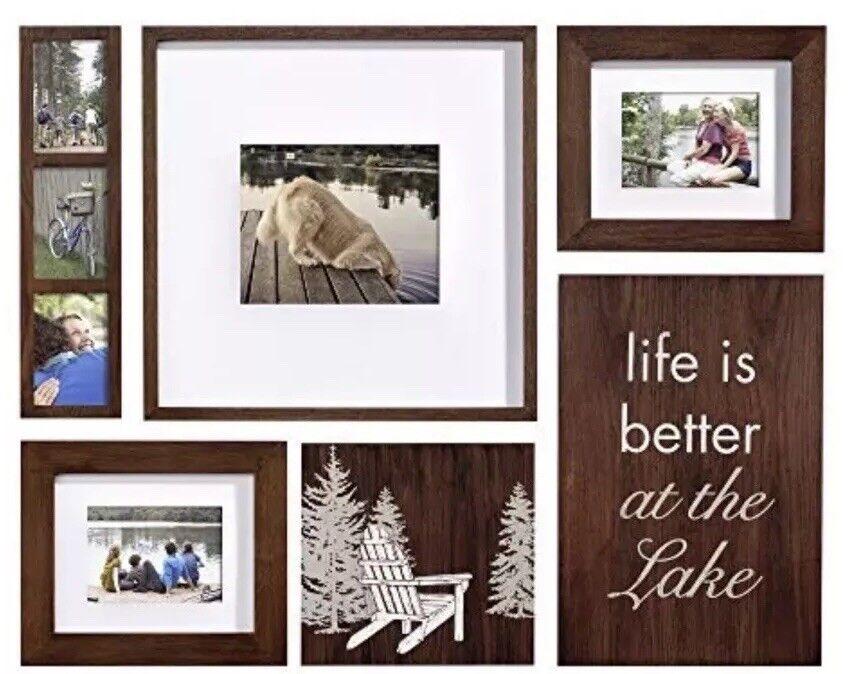 Photo Frame Lodge 6-piece Box Set, marron, Lake Vacation Home Decor
