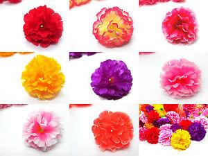 Hawaiian Carnation Heads Artificial Silk Flower 2 Wedding Make Clip