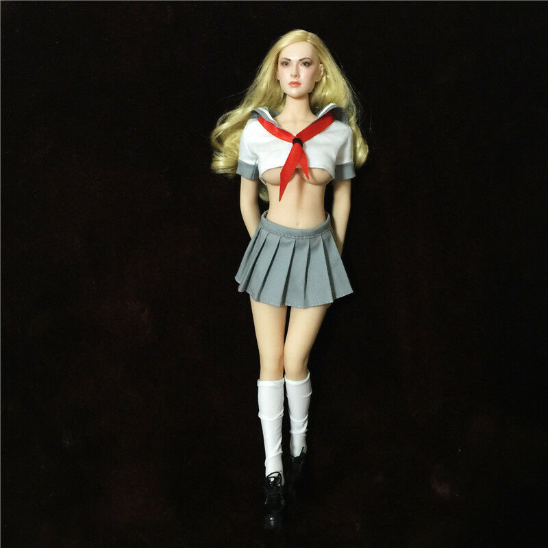 1 6 Female Students Dress Sets Red Scarf White Top Mini Skirt F 12  Figure Toys
