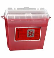 5 Tyco Healthcare Kendall Red Single Use Quart Sharps Container W Lid 8507sa