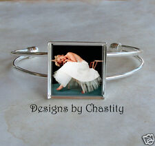 Marilyn Monroe Bracelet White Dress Hollywood Star Bangle Glass Altered Art