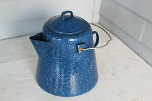 Enamelware-Coffee-Kettle-Rare-Find-Bumpy-Blue-Mottled-White-Surface-Rustic