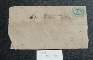 nystamps US CSA Confederate Stamp Used Early Cover